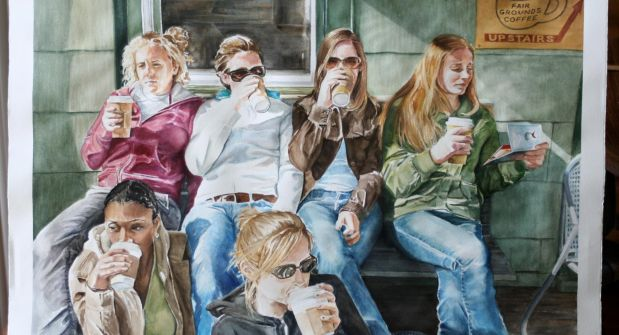 Group of girls enjoying coffee on the porch. By Barb Risi